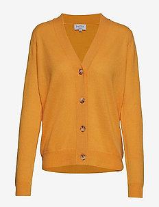 V-neck Boxy Cardigan - kaszmir - yellow