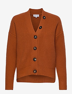 Heavy Knit Buttons Cardigan - cashmere - dark rust