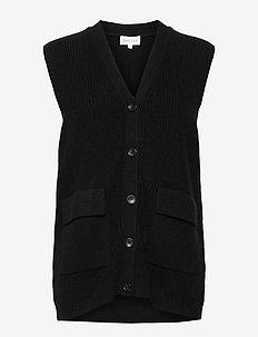 Buttoned Vest - stickade västar - black