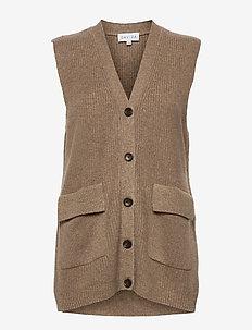 Buttoned Vest - knitted vests - mink