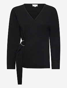 Side Belt Cardigan - koftor - black