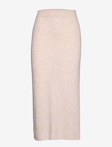 Rib Detail Skirt - LIGHT BEIGE