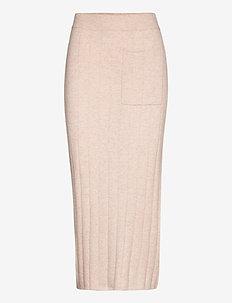 Wide Rib Poocket Skirt - midi skirts - light beige