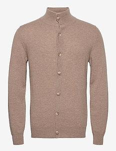 Man Cardigan Buttons - basic gebreide truien - mink