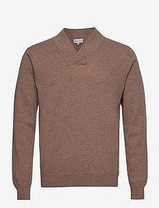 Man Shawl Plain Sweater - basic strik - mink