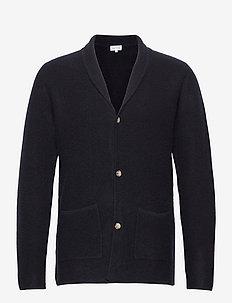 Man Jacket Lapel - basic knitwear - navy