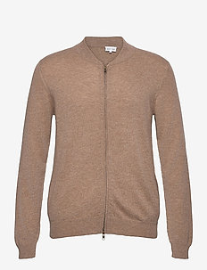 Man Bomber Jacket - basic knitwear - mink