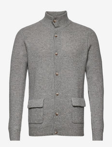 Man Buttoned Rib Cardigan - basic strik - light grey