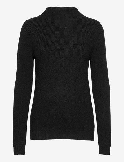 Rib Funnel Neck Sweater - truien - black
