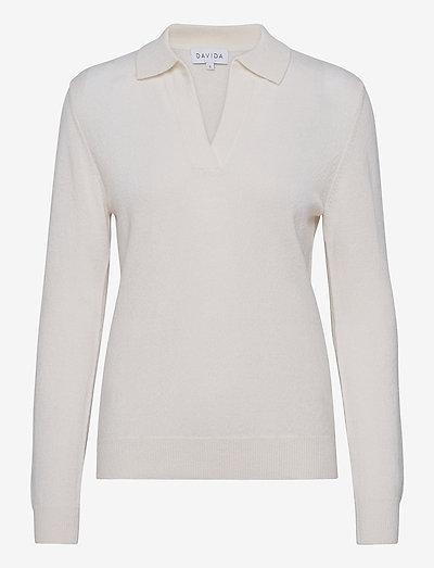 Open Collar Sweater - sweaters - white