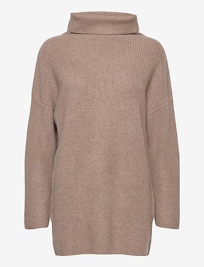 Oversized Rib Sweater - turtlenecks - mink