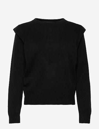 Shoulder Fold Sweater - sweaters - black