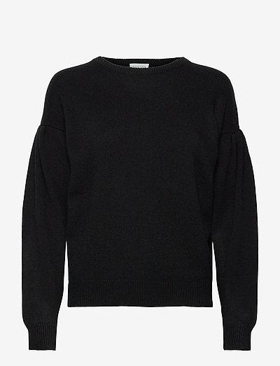 Volume Sleeve Sweater - sweaters - black
