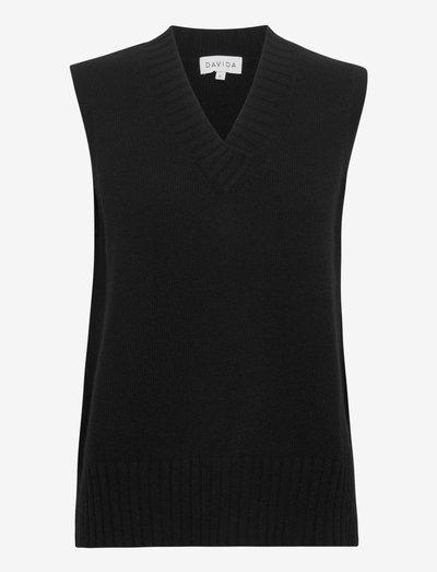 V-neck Vest - knitted vests - black