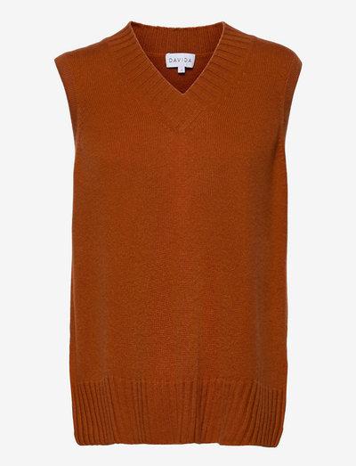 V-neck Vest - knitted vests - dark rust