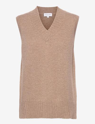 V-neck Vest - knitted vests - mink