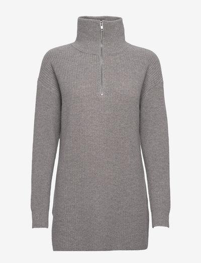 Half Zip Ribbed Long Sweater - turtlenecks - light grey