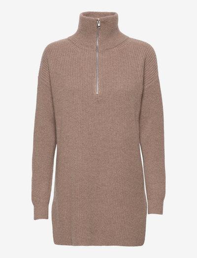 Half Zip Ribbed Long Sweater - turtlenecks - mink