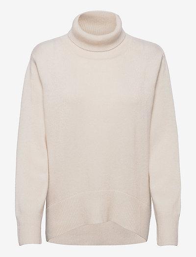 High Collar Oversized Sweater - turtlenecks - white