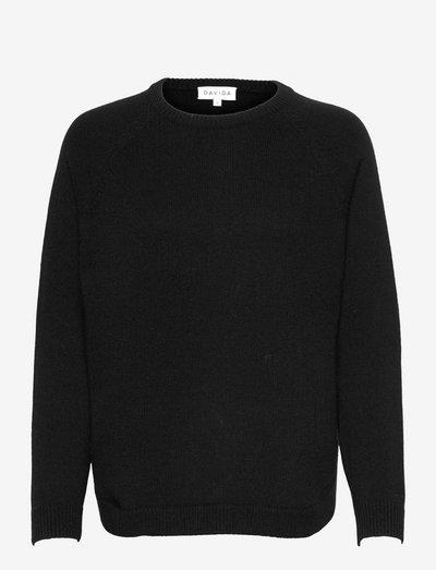 Raglan Curved Sweater - jumpers - black