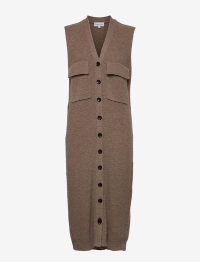 Ribbed Pocket Dress - everyday dresses - mink