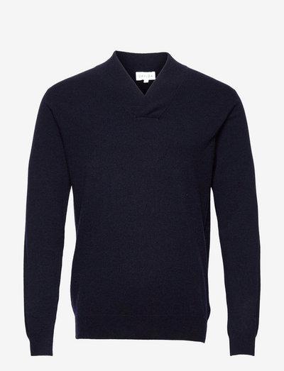 Man Shawl Plain Sweater - basic-strickmode - navy