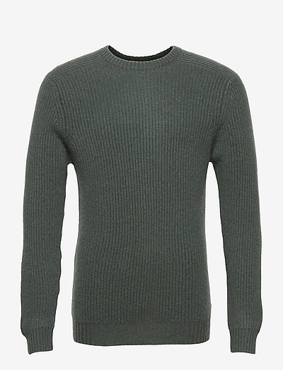 Man O-neck Ribbed Sweater - basic-strickmode - deep green melage