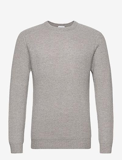 Man O-neck Ribbed Sweater - basic-strickmode - light grey