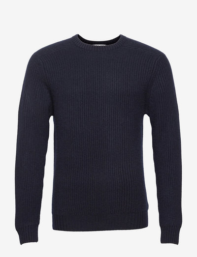 Man O-neck Ribbed Sweater - basic-strickmode - navy