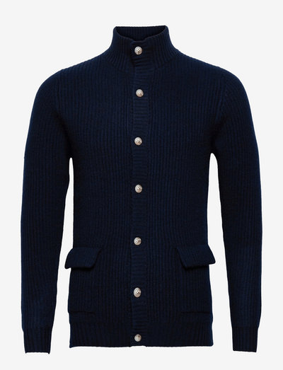 Man Buttoned Rib Cardigan - basic-strickmode - navy