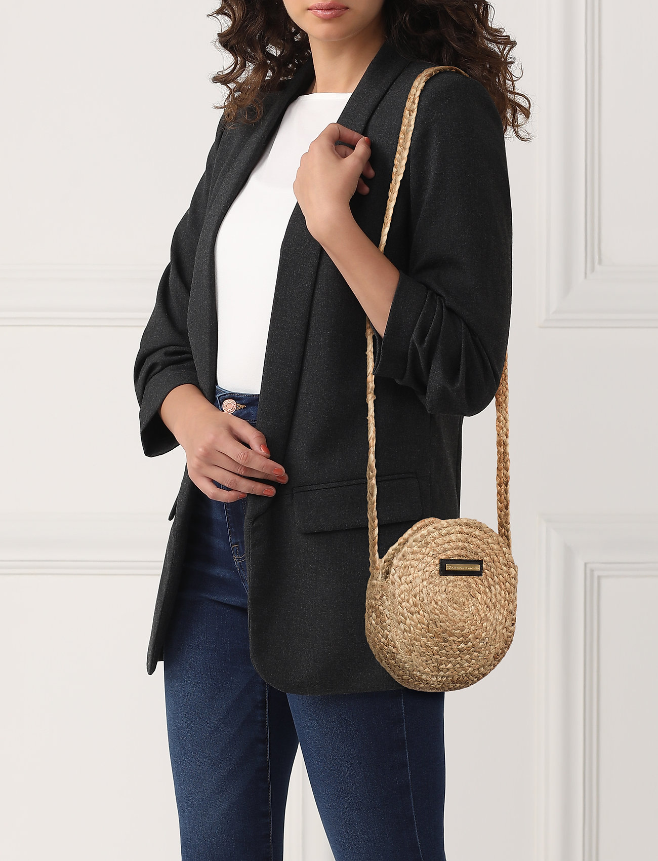 DAY et Day Straw Round Bag S - NATURAL