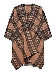 Day Check Text Woven Poncho - LION BROWN