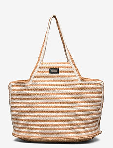 Day Straw Stripe Shopper - casual shoppers - camel beige