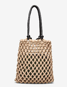 Day Block Net Tote - fashion shoppers - cement