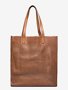 Day Cube Perforation Tote - fashion shoppers - camel beige