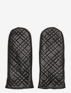 Day Mitten Leather Quilted - rękawiczki - black