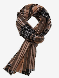 Day Check Text Woven scarf - sjaals - lion brown