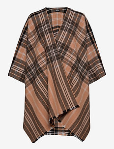 Day Check Text Woven Poncho - ponchos en capes - lion brown
