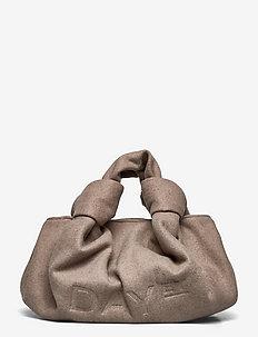 Day Woolen Knotty Pouch M - handväskor - taupe melange