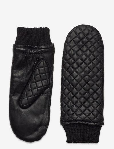 Day Quilted Leather Mitten - hanskat - black