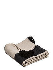 Piles cotton blanket - BLACK/NATURAL