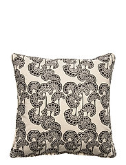 Day Waterlily Black Cushion Cover - BLACK/WHITE