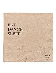 Day Paper Napkin, Eat/Dance/Sleep - BROWN