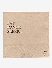 DAY Home - Day Paper Napkin, Eat/Dance/Sleep - napkins - brown - 0