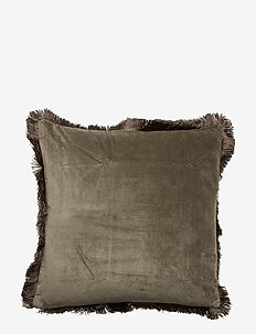 Day Classic Velvet Cushion Cover Military with Fringes - poszewki na poduszki ozdobne - military