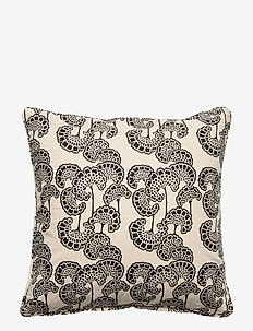 Day Waterlily Black Cushion Cover - poszewki na poduszki ozdobne - black/white