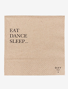 Day Paper Napkin, Eat/Dance/Sleep - napkins - brown