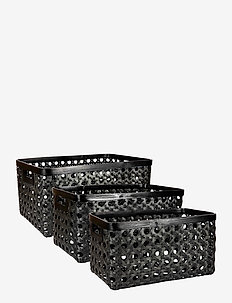 Day Black bamboo strap basket, set of 3pcs - interiør - black
