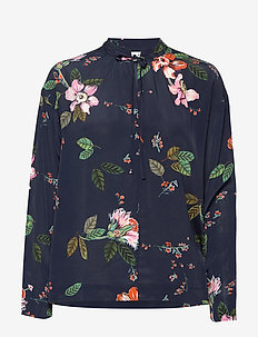 Day Bouquet - long sleeved blouses - navy blazer