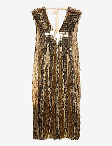 Day Plates - sequin dresses - rich gold